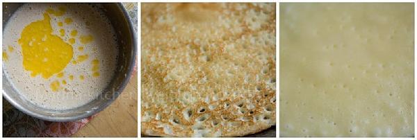 Влейте в тесто растительное масло, перемешайте.  Прогрейте сковороду на сильном огне (подержите так несколько минут).   В блюдце налейте немного растительного масла, половину луковицы (или половину картофелины) очистите и наколите на вилку. Это нужно, что бы не лить лишнего масла на сковороду. Окуните луковицу в масло и быстро смажьте ею сковороду (повторяйте по мере необходимости).  На подготовленную сковороду вылейте немного теста и дайте ему растечься так, что бы получился аккуратный блин ( для этого поворачивайте сковородку, что бы тесто распределилось равномерно).  Пеките, пока на поверхности блина не появятся пузырьки. Переверните на другую сторону.