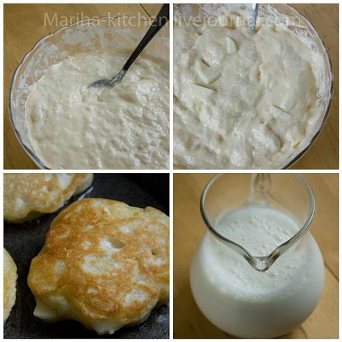 Посуду с тестом накройте полотенцем и поставьте в теплое место для подъема (примерно на час).  Яблоки очистите от кожицы и сердцевины, нарежьте тонкими ломтиками и перед выпечкой положите в готовое поднявшееся тесто. Перемешайте.  Пеките оладьи с двух сторон на хорошо разогретой сковороде, по необходимости добавляя на нее немного масла.  Пока печется одна порция, оставшееся тесто накройте салфеткой.