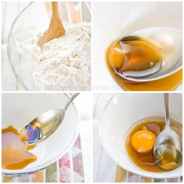 Смешать муку, соль и разрыхлитель.   Отдельно - солнечный, душистый мед, льющийся с ложки. А к нему: растительное масло, яйца и молоко.