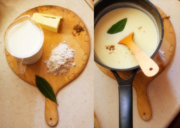Пока настаивается соус болоньезе мы готовим соус бешамель. Очень простой и вкусный соус. Для его приготовления  в глубоком сотейнике на среднем огне растапливаем масло и объединяем с мукой. Тщательно перемешиваем, чтобы избежать образования комочков. Добавляем постепенно молоко. Так же тщательно мешаем. Как только соус загустеет, снимаем его с огня, добавляем мускатный орех и лавровый лист. Лавровый лист обязательно выньте из соуса через пять минут, иначе он может дать горечь.