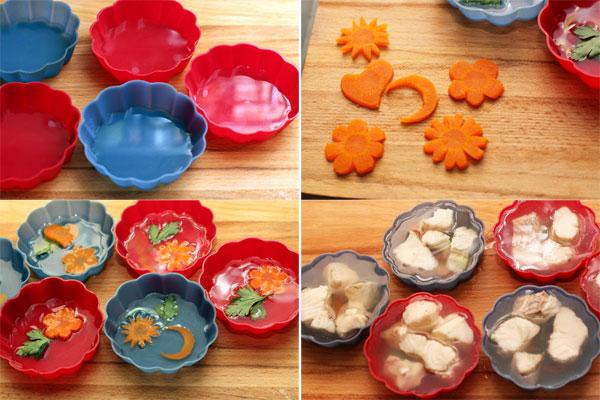 В порционные формы налейте немного бульона и дайте застыть. Затем положите украшения — зелень, тонкие фигурные ломтики вареной моркови.  Поверх украшений положите рыбное филе и залейте бульоном доверху.