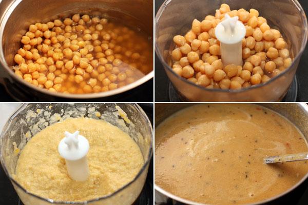 Нут с оставшимся бульоном превратите в пюре с помощью блендера. Затем смешайте пюре с бульоном, в который добавили специи и доведите все до кипения, посолите.