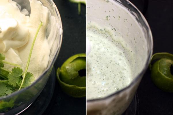 Для заправки взбейте в блендере сметану с кинзой, цедрой и соком лайма. Сок добавляйте частями, чтобы не получилось слишком кисло.